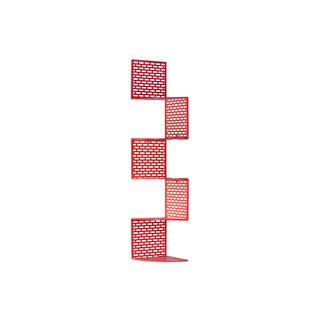 Metal Corner Shelf with Five (5) Tiers and Perforated Surface and Backing Large Coated Finish Red
