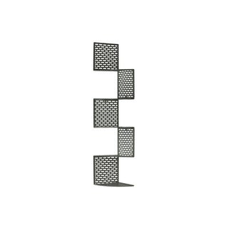 Dark Grey Finish Metal Corner Shelf with 5 Tiers and Perforated Surface and Backing