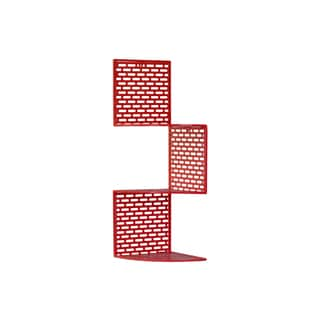 Metal Corner Shelf with 3 Tiers and Perforated Surface and Backing Small Coated Finish Red
