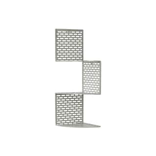 Light Grey 3-Tier Perforated Small Metal Corner Shelf