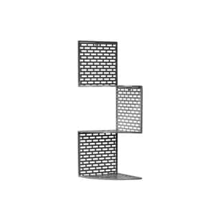Metal Corner Shelf with Three (3) Tiers and Perforated Surface and Backing Small Coated Finish Dark Gray