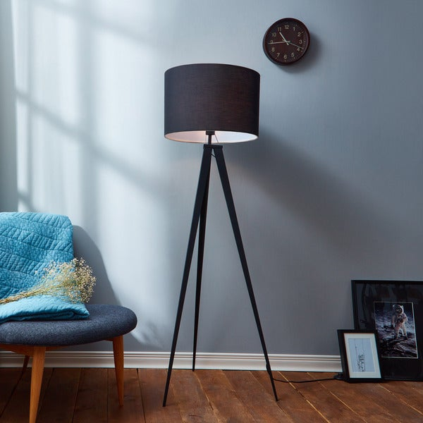 romanza matte black tripod floor lamp with black shade inches. Black Bedroom Furniture Sets. Home Design Ideas