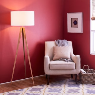 Romanza Light Brown Tripod Floor Lamp with White Shade (60 inches)