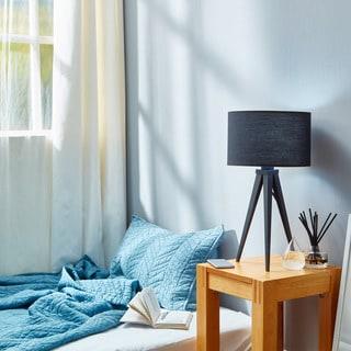 Romanza Matte Black Tripod Table Lamp with Black Shade (20 inches)