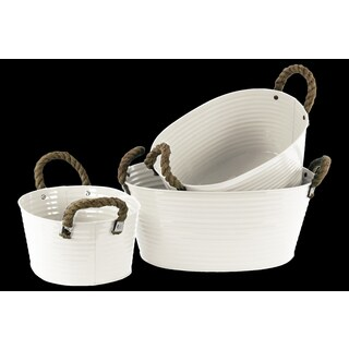 White Zinc Oval Bucket with Rope Handles (Set of 3)