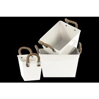 Rectangular Zinc Bucket with Rope Handles (Set of 3)