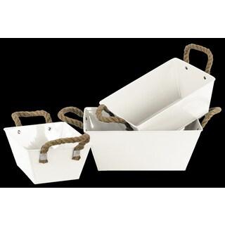 Zinc Rectangular Bucket withTwo (2) Rope Handles and Tapered Bottom Set of Three Coated Finish White