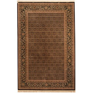 Herat Oriental Indo Hand-knotted Tabriz Black/ Gold Wool Rug (4'1 x 6'4)