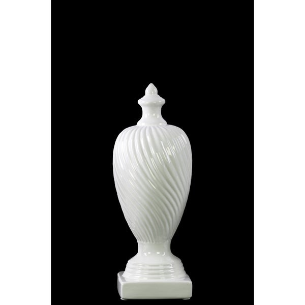 Small White Ceramic Finial With Base