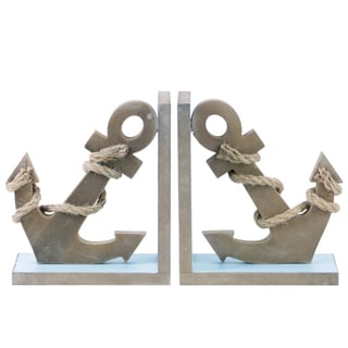 Blue Rope Wrapped Anchor Bookends