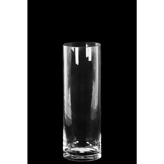 Glass Tall Cylinder Vase with Round Mouth and Tapered Bottom Small Clear Glass Finish Achromatic