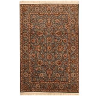 Herat Oriental Pakistani Hand-knotted Tabriz Blue/ Beige Wool Rug (4' x 6')