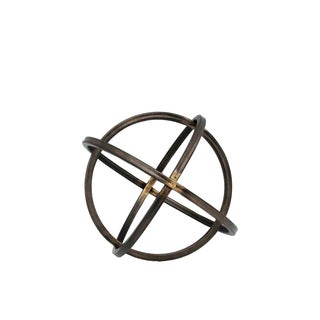 Small Rust Finish Gunmetal Gray Metal Orb Dyson Sphere Design
