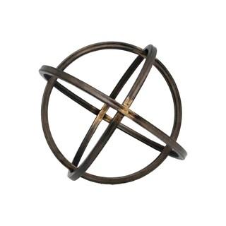 Metal Orb Dyson Sphere Design Large Rust Finish Gunmetal Grey