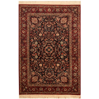 Herat Oriental Pakistani Hand-knotted Sarouk Navy/ Red Wool Rug (4' x 5'8)