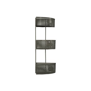 Metal Sector Shaped Corner Shelf with Perforated Sides, Three (3) Tiers and Three (3) Card Holders Large Coated Finish Dark Gray