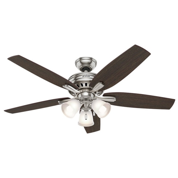 Hunter Fan Newsome Collection 52-inch Brushed Nickel with 5 Medium Walnut/ Dark Walnut Reversible Blades 17993819