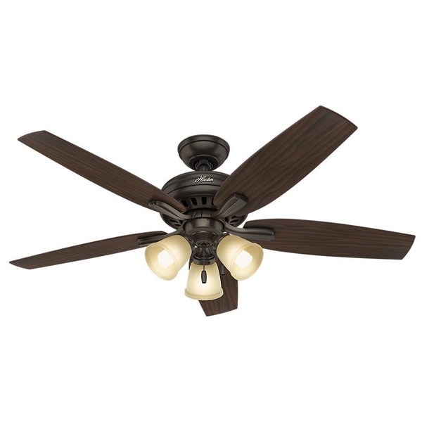 Hunter Fan Newsome Collection 52-inch Premier Bronze with 5 Roasted Walnut/ Yellow Walnut Reversible Blades 17993824