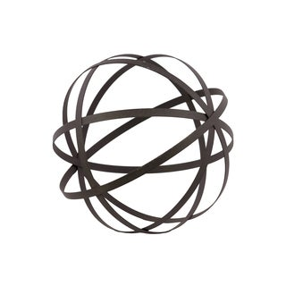 Metal Orb Dyson Sphere Design Decor (5 Circles) Coated Finish Gray