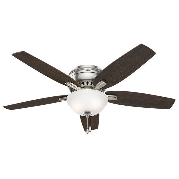 Hunter Fan Newsome Collection 52-inch Brushed Nickel with 5 Medium Walnut/ Dark Walnut Reversible Blades 17993837