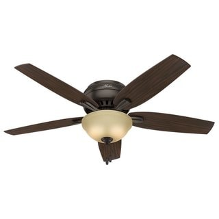 """Hunter 52"""" Newsome Low Profile Ceiling Fan with LED Light Kit and Pull Chain - Premier Bronze"""