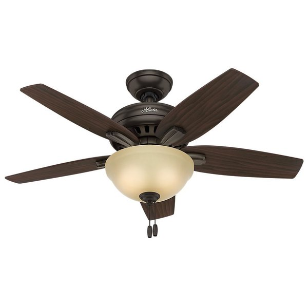 Hunter Fan Newsome Collection 42-inch Premier Bronze with 5 Roasted Walnut/ Yellow Walnut Reversible Blades 17993874