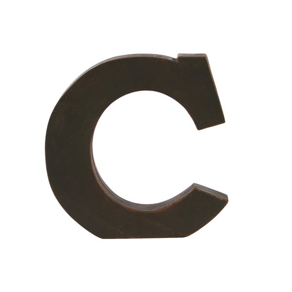 Dark Bronze Fiberstone Letter 'C' Tabletop Decor