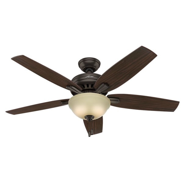 Hunter Fan Newsome Collection 52-inch Premier Bronze with 5 Roasted Walnut/ Yellow Walnut Reversible Blades 17993899
