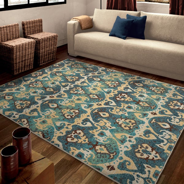 "Carolina Weavers Bright Color Aztec Monte Carlo Blue Area Rug (7'10"" x 10'10"")"