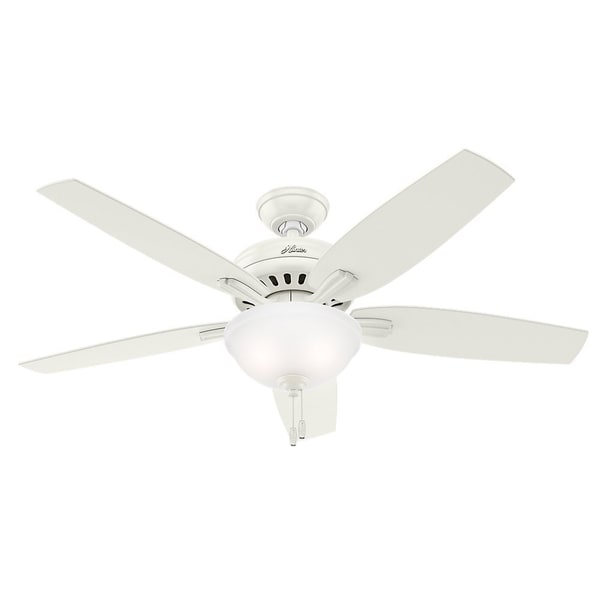 Hunter Fan Newsome Collection 52-inch Fresh White with 5 Fresh White/ Light Oak Reversible Blades 17993969