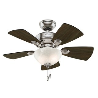 Hunter Fan Watson 34-inch Brushed Nickel with 5 Dark Walnut/ Cherry Reversible Blades