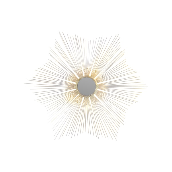 Silver Metal Radial Wall Accent Mirror