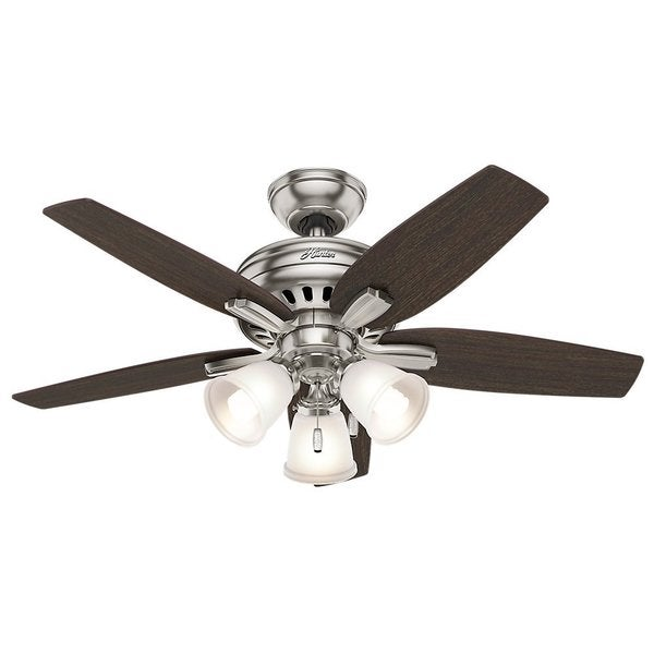 Hunter Fan Newsome Collection 42-inch Brushed Nickel with 5 Medium Walnut/ Dark Walnut Reversible Blades 17994067