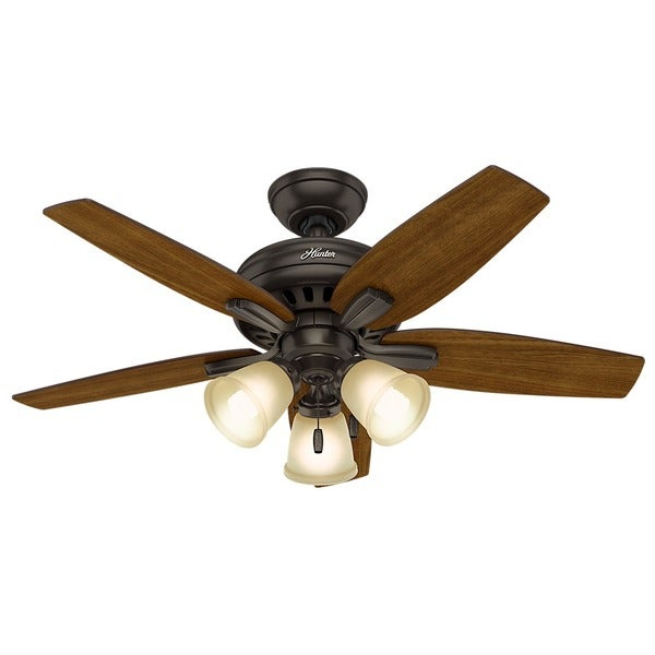 Hunter Fan Newsome Collection 42-inch Premier Bronze with 5 Roasted Walnut/ Yellow Walnut Reversible Blades 17994091