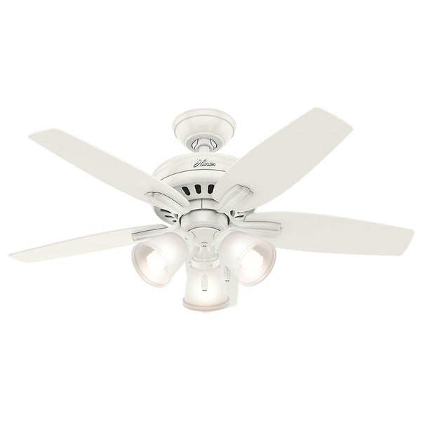 Hunter Fan Newsome Collection 42-inch Fresh White with 5 Fresh White/ Light Oak Reversible Blades 17994095