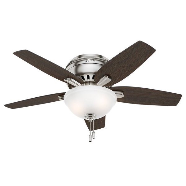 Hunter Fan Newsome Collection 42-inch Brushed Nickel with 5 Medium Walnut/ Dark Walnut Reversible Blades 17994096