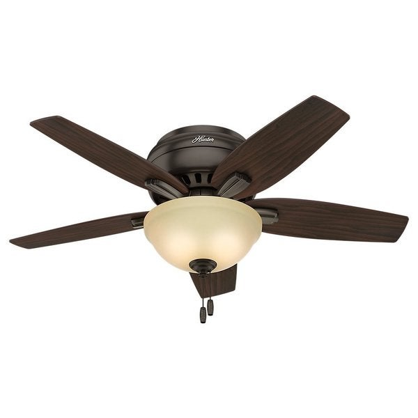 Hunter Fan Newsome Collection 42-inch Premier Bronze with 5 Roasted Walnut/ Yellow Walnut Reversible Blades 17994097