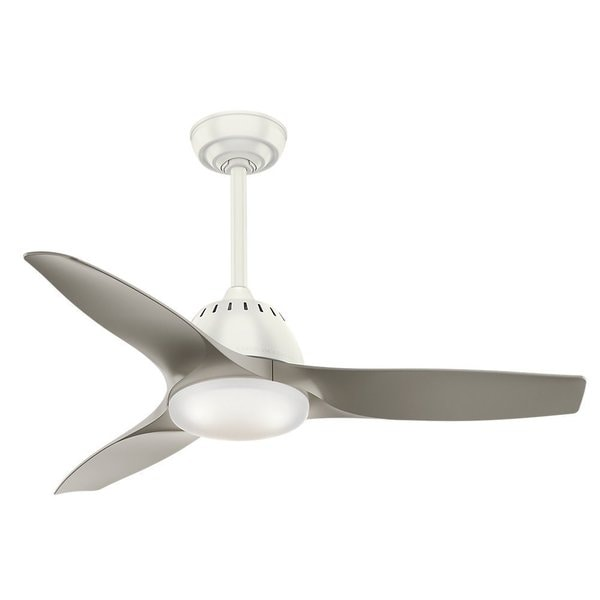 Casablanca Fan Wisp 44-inch Fresh White with 3 Pewter Blades 17994104