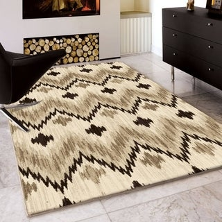 "Carolina Weavers Soft Chevron Weaver Beige Area Rug (7'10"" x 10'10"")"