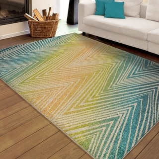 "Carolina Weavers Indoor/Outdoor Chevron Odle Zig Zag Multi Area Rug (7'8"" x 10'10"")"