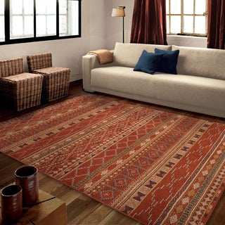 "Carolina Weavers Bold Striped Desert Trail Red Area Rug (7'10"" x 10'10"")"