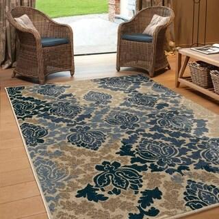 "Carolina Weavers Indoor/Outdoor Classic Damask Blue Area Rug (7'8"" x 10'10"")"