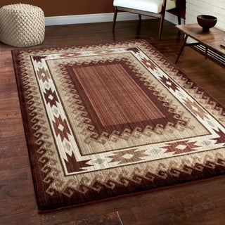 "Carolina Weavers Log Cabin Lodge Glendale Rust Area Rug (6'7"" x 9'8"")"