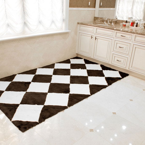 Wild Mannered Faux Fur Black And White Checkerboard Area