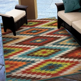"Carolina Weavers Indoor/Outdoor Aztec Flagstaff Multi Area Rug (5'2"" x 7'6"")"