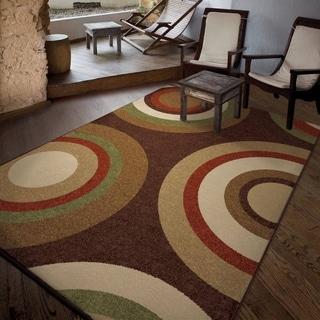"Carolina Weavers Indoor/Outdoor Circles Curled Rochelle Brown Area Rug (5'2"" x 7'6"")"