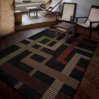"Carolina Weavers Indoor/Outdoor Geo Hamilton Black Area Rug (5'2"" x 7'6"")"