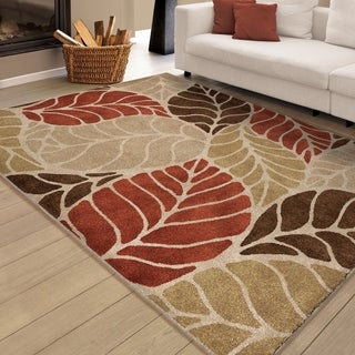 "Carolina Weavers Soft Carved Leaves Multi Area Rug (5'3"" x 7'6"")"