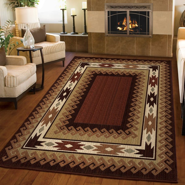 Carolina Weavers Log Cabin Lodge Glendale Rust Area Rug (5