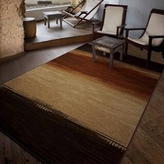 """Carolina Weavers Indoor/Outdoor Stripes Buchanan Brown Area Rug (5'2"""" x 7'6"""")"""